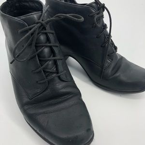 Clark's black leather heeled booties 7